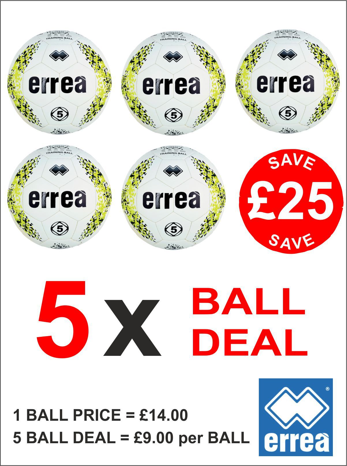 Errea Stream Team Training Ball 5 Ball Deal