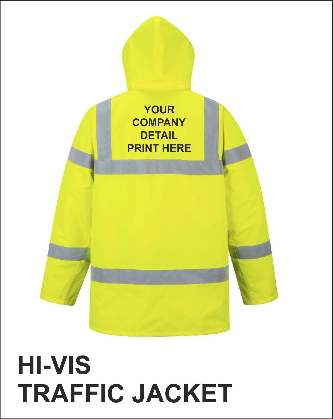Traffic Jacket Yellow Print Detail