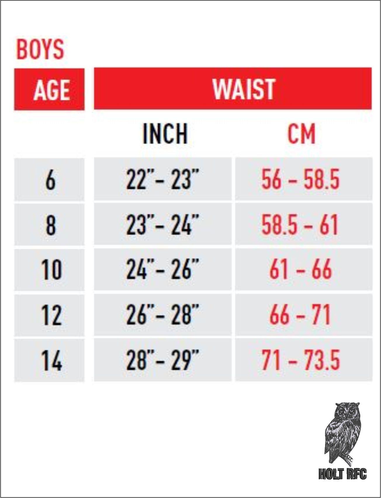 Boys Waist Size Guide