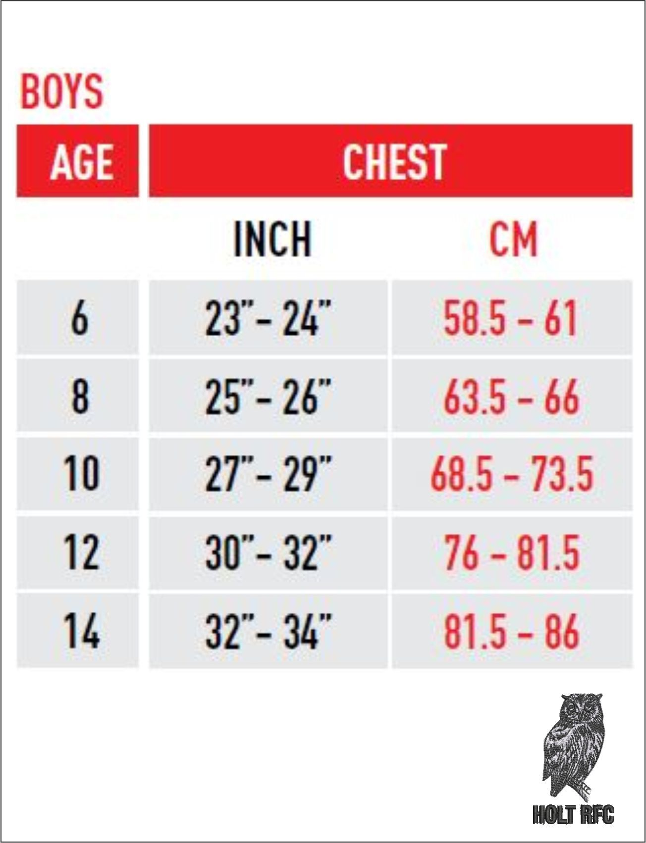 Boys Chest Size Guide