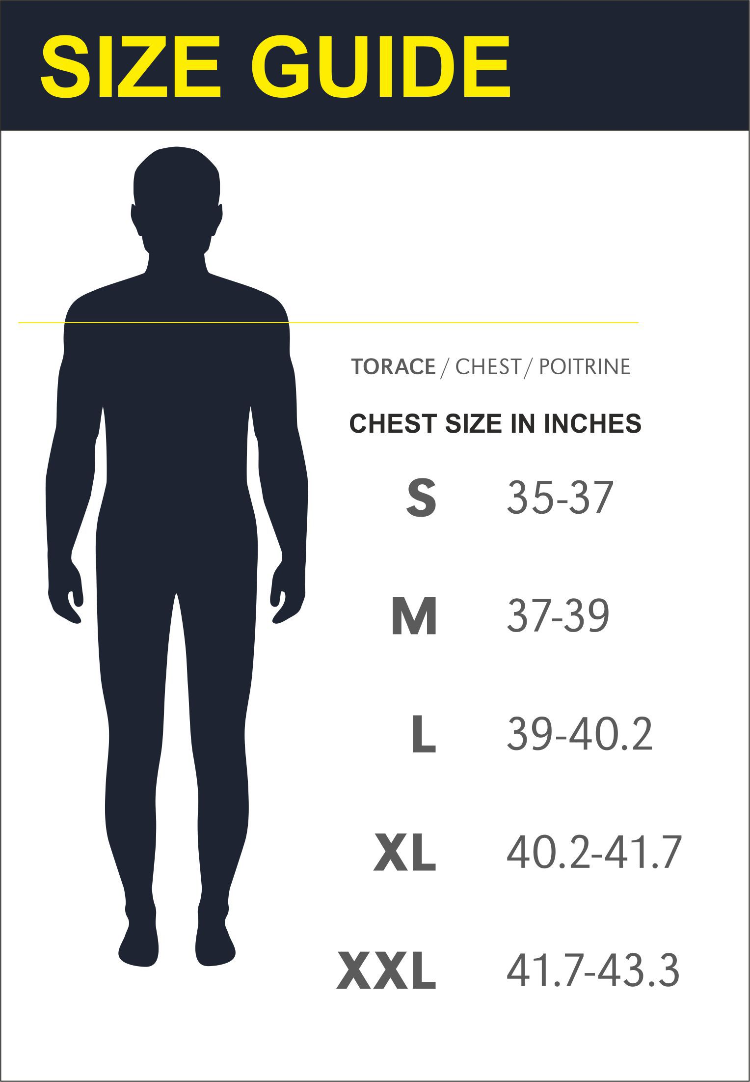 Mens Size Guide Chest