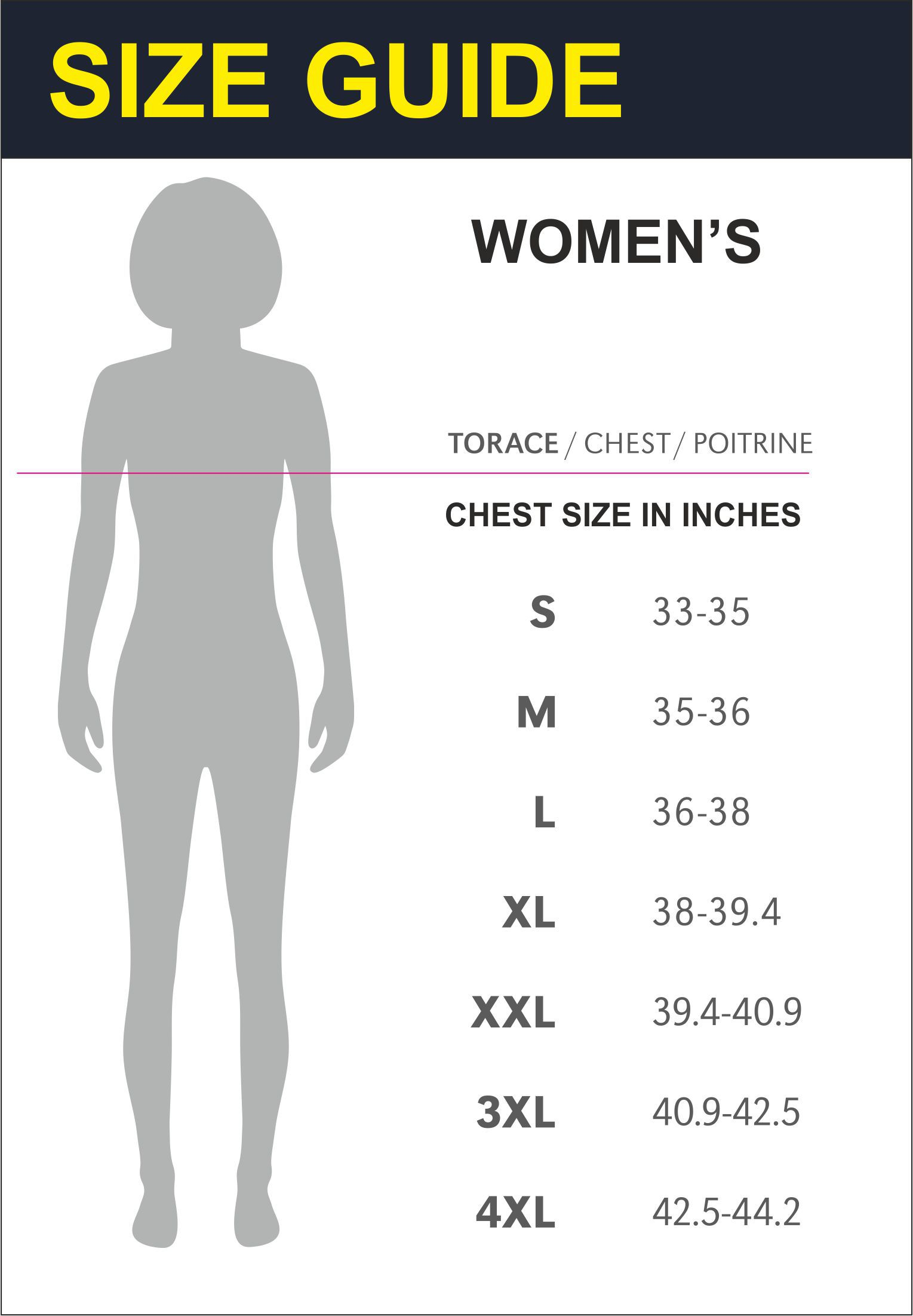 Womens Size Guide Chest