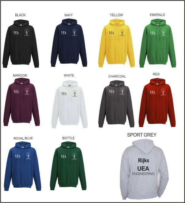 Uea Engineering Society Hoody Colour Options