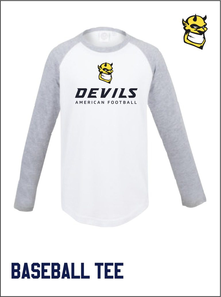 White Grey Baseball Tee Front