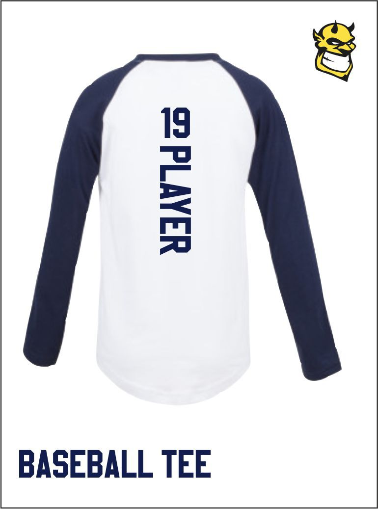 White Navy Baseball Tee Back