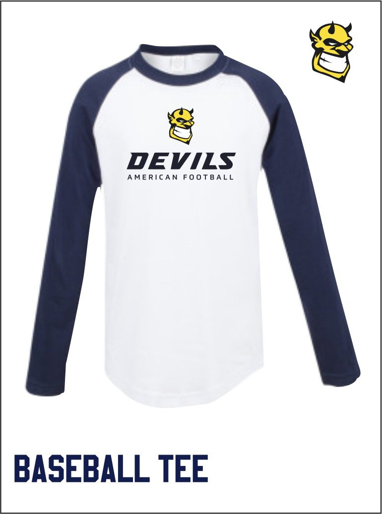 White Navy Baseball Tee Front