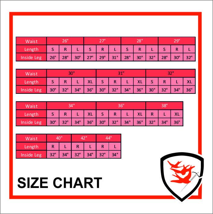 958 Size Chart