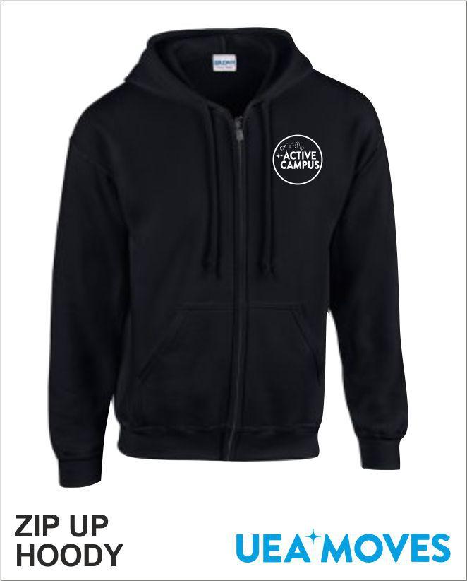 Zip Up Hoody Black Front