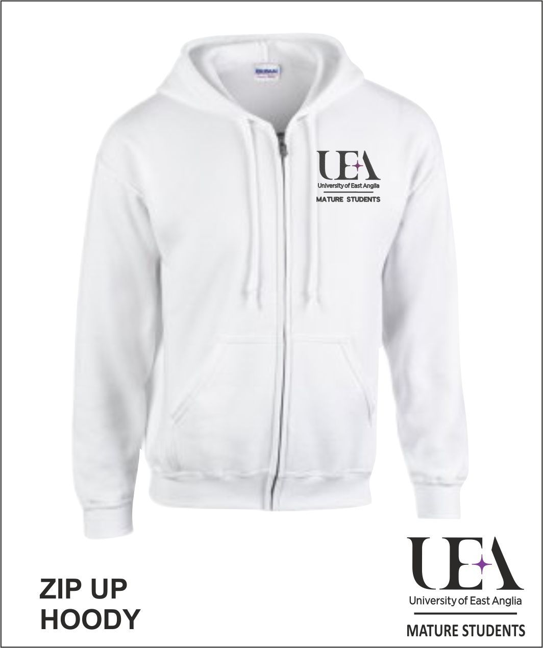 Zip Up Hoody White Front