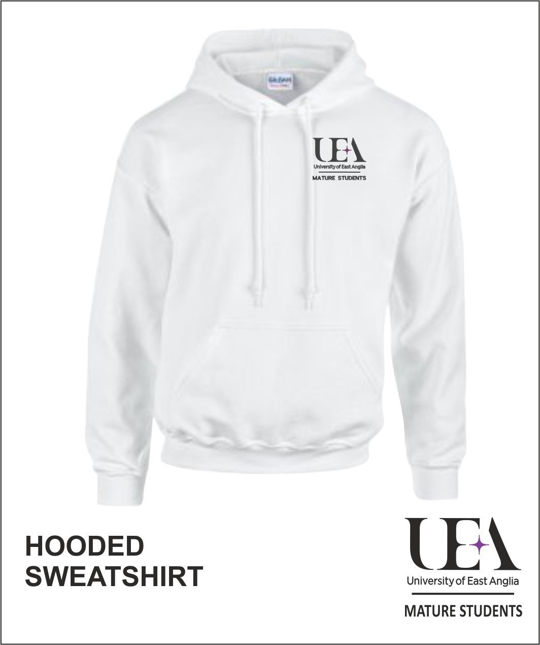 Hooded Sweatshirt White Front