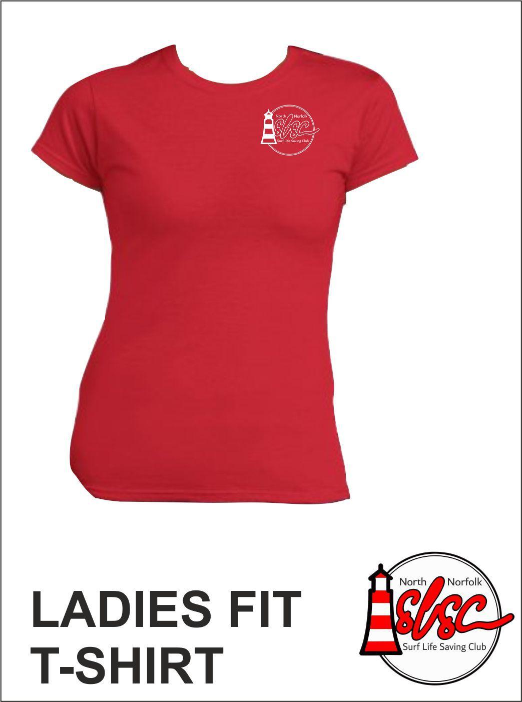 Ladies T Shirt Small Print Red
