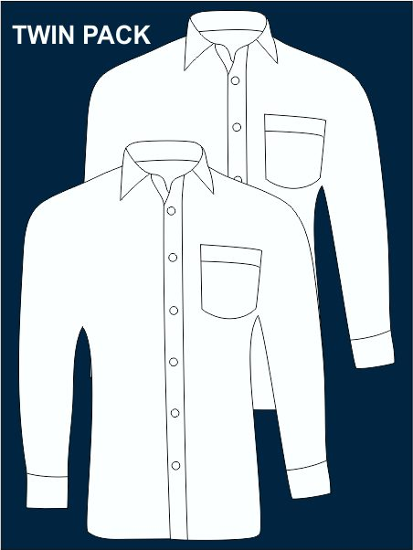 Twin Pack Long-sleeved Easy Care Shirts(litcham)