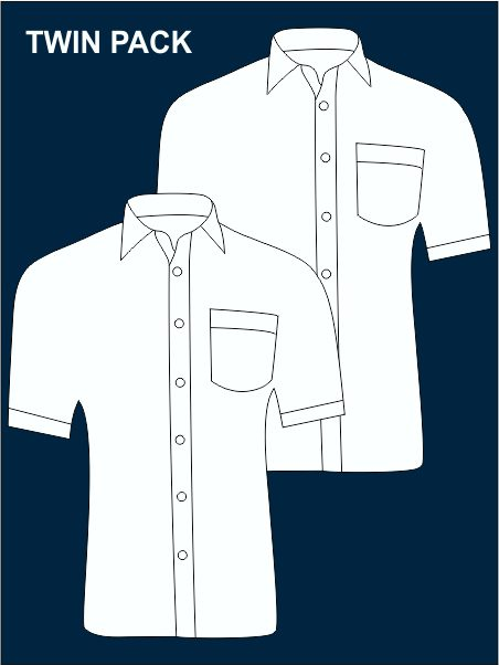Twin Pack Short-sleeved Easy Care Shirts