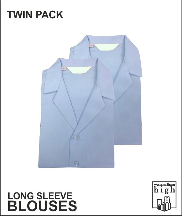 Long Sleeve Rever Collar Blouses Twin Pack