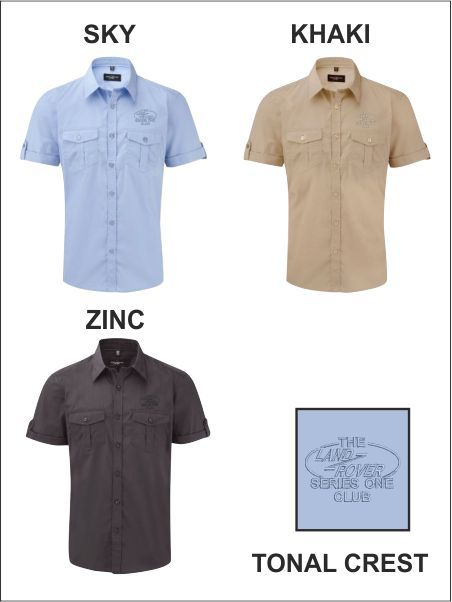 Short Sleeve Safari Shirt Tonal Crest