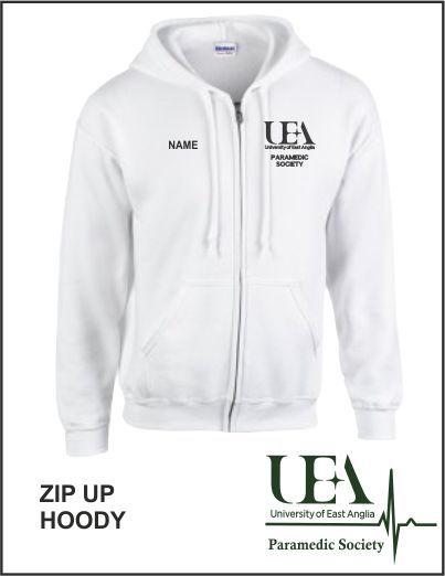 Zip Up Hoody White