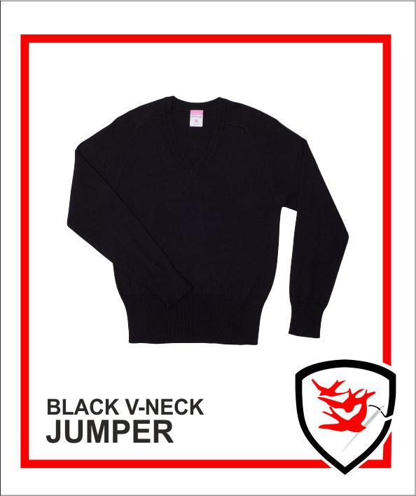 100% V-Neck Black