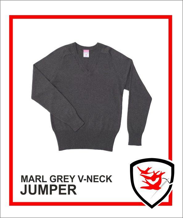 100% V-Neck Marl Grey