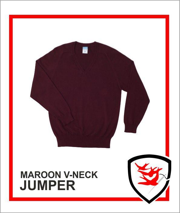 100% V-Neck Maroon
