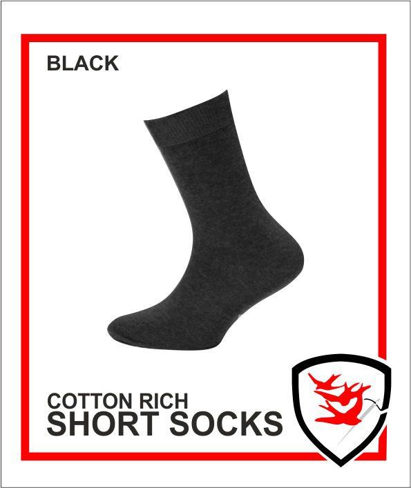 Cotton Rich Short Socks - Black