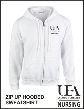 Zip Up Hoody White Front