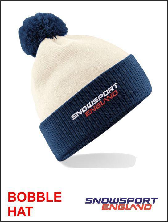 Bobble Hat White Navy