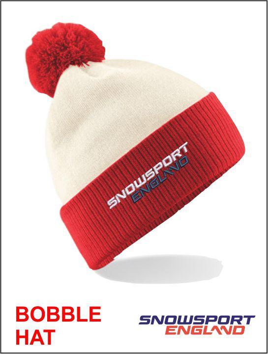 Bobble Hat White Red